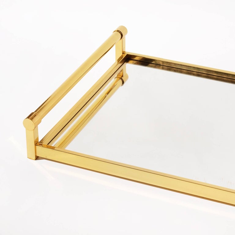 Very Large Brass Drinks Serving Tray by Jacques Adnet For Sale 2