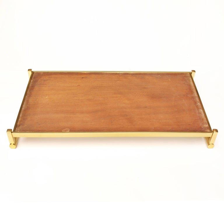 Very Large Brass Drinks Serving Tray by Jacques Adnet For Sale 5