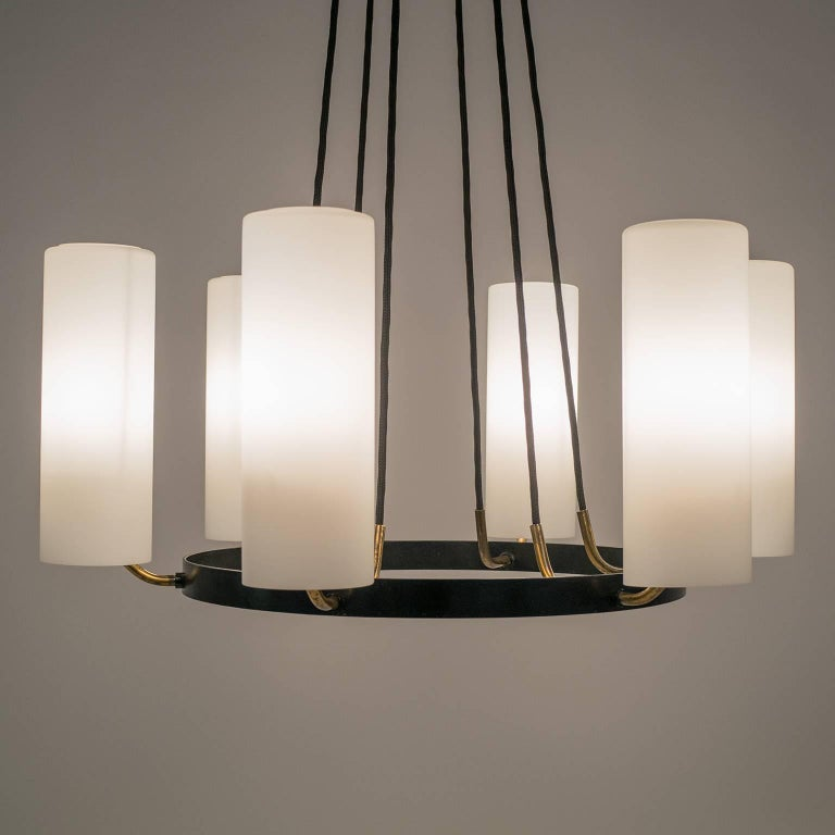 Large Modernist Satin Glass and Brass Chandelier, 1950s For Sale 4