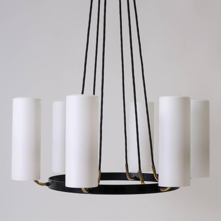 Large Modernist Satin Glass and Brass Chandelier, 1950s For Sale 5