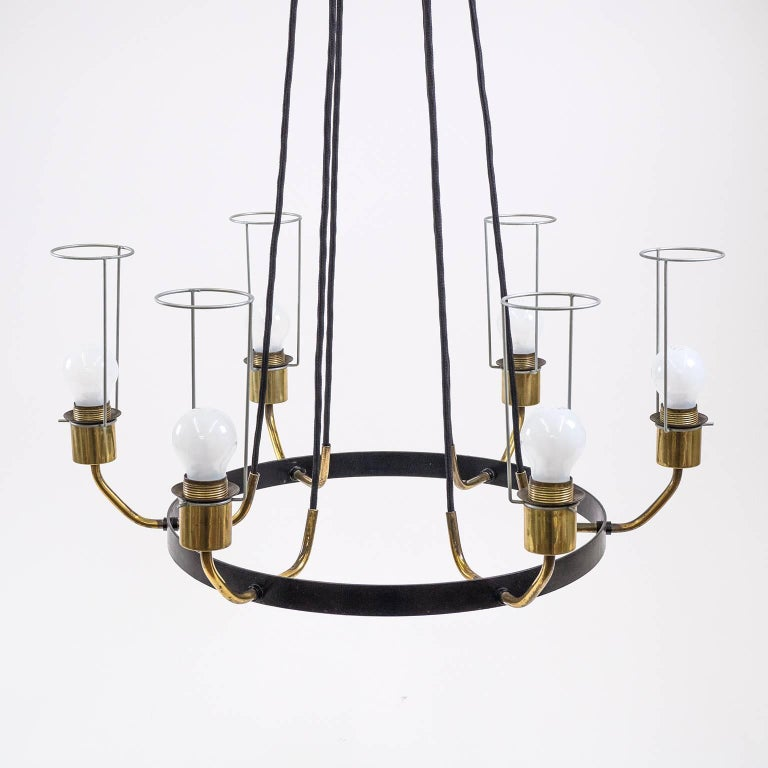 Large Modernist Satin Glass and Brass Chandelier, 1950s For Sale 6
