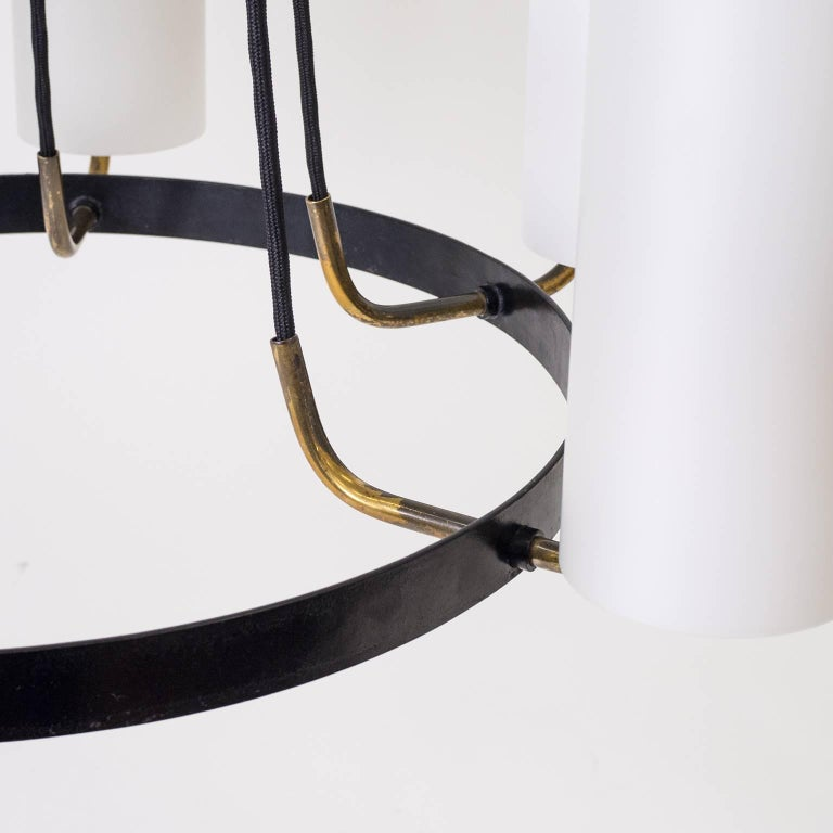 Large Modernist Satin Glass and Brass Chandelier, 1950s For Sale 8