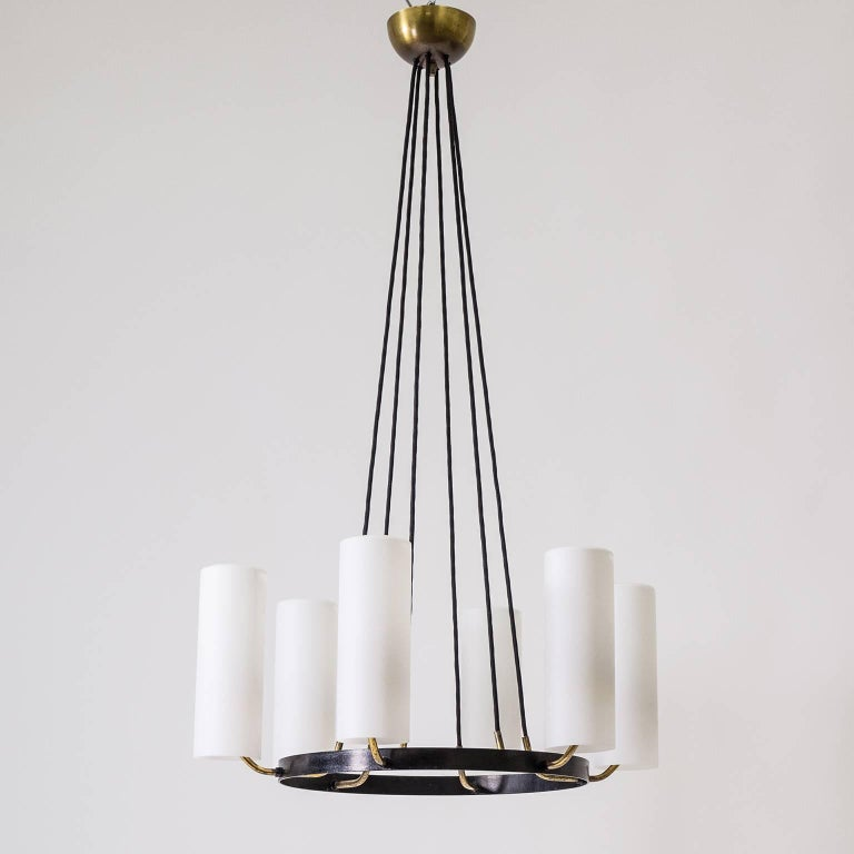 Large Modernist Satin Glass and Brass Chandelier, 1950s For Sale 9
