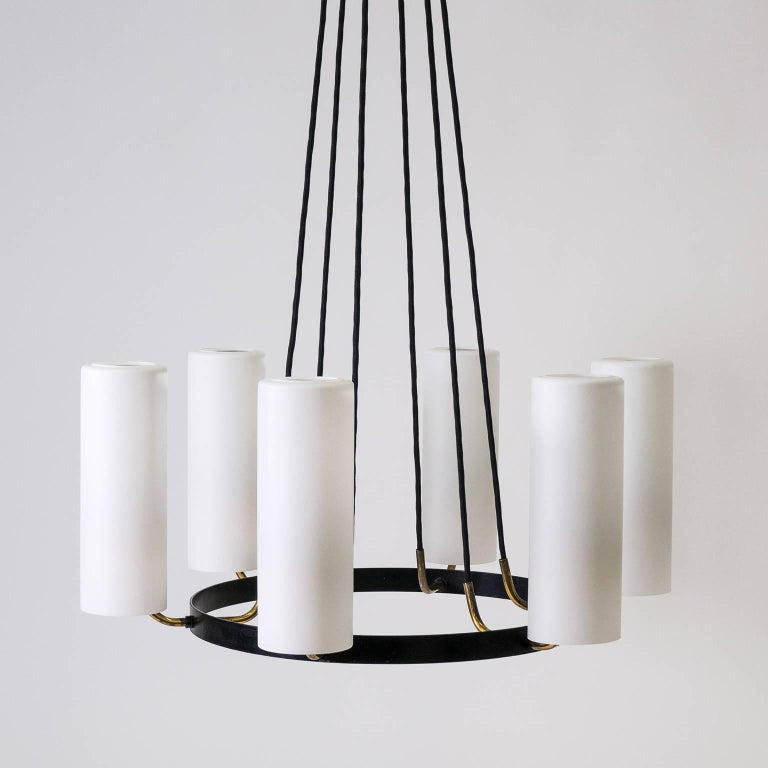 Large Modernist Satin Glass and Brass Chandelier, 1950s For Sale 10