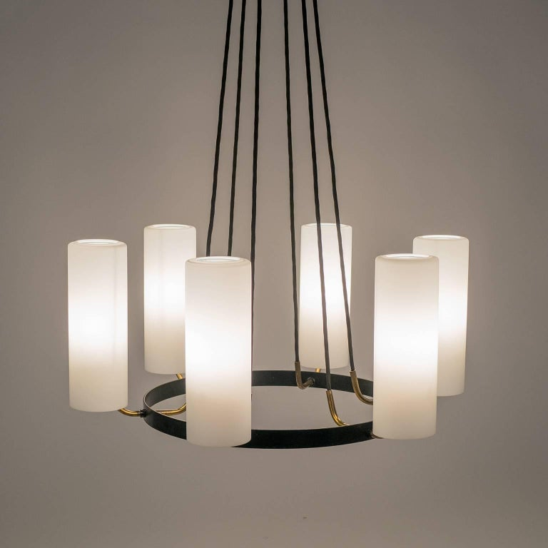 Large Modernist Satin Glass and Brass Chandelier, 1950s For Sale 11