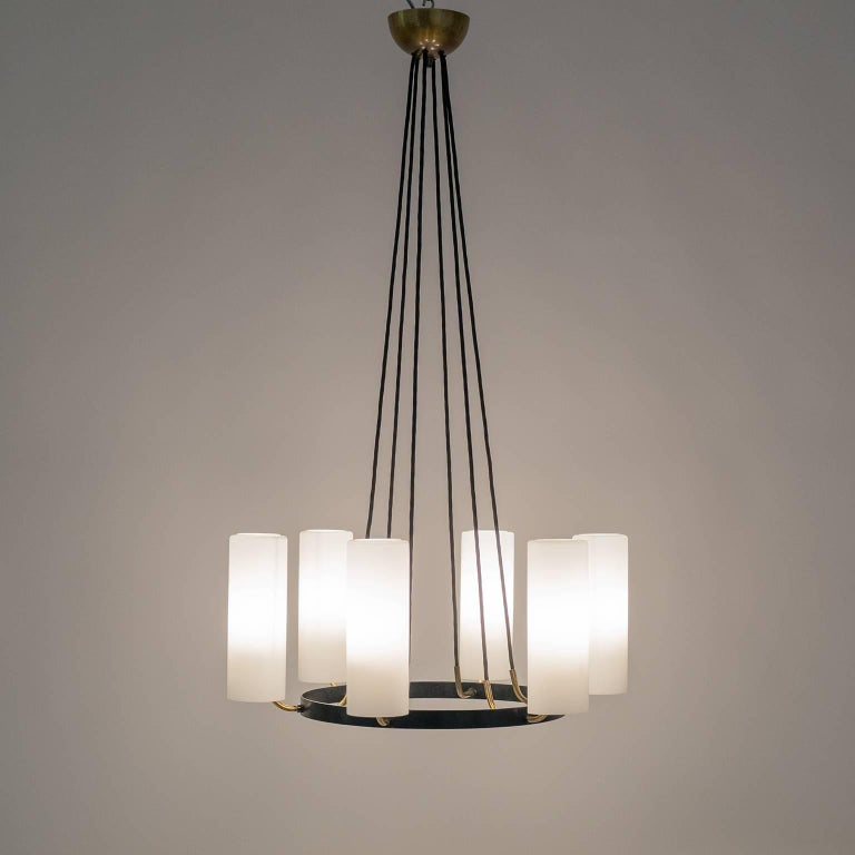 Large Modernist Satin Glass and Brass Chandelier, 1950s For Sale 12