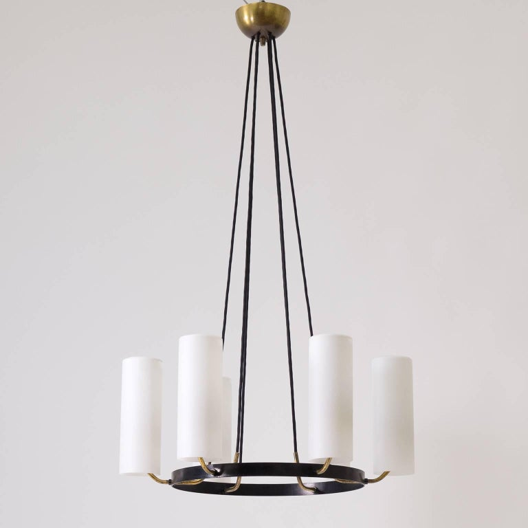 Mid-Century Modern Large Modernist Satin Glass and Brass Chandelier, 1950s For Sale