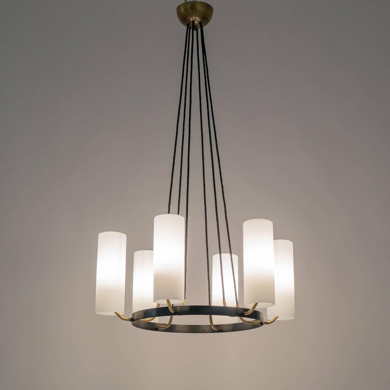 European Large Modernist Satin Glass and Brass Chandelier, 1950s For Sale
