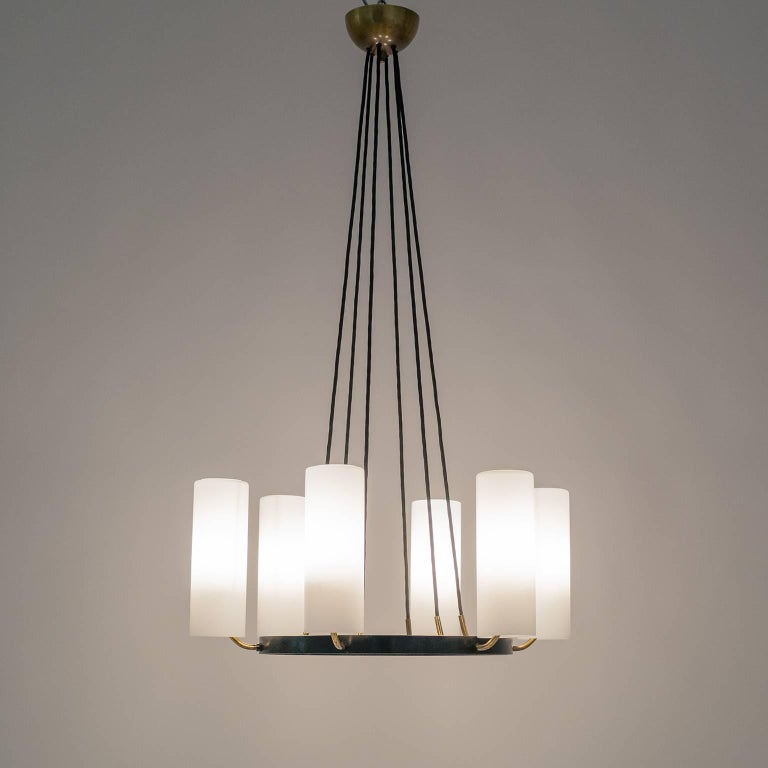 Frosted Large Modernist Satin Glass and Brass Chandelier, 1950s For Sale
