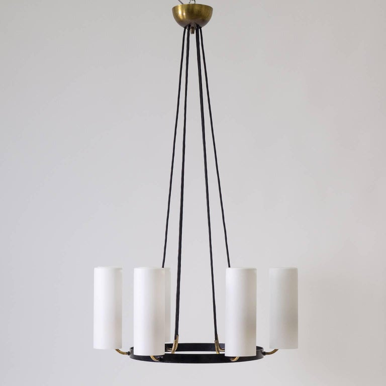 Large Modernist Satin Glass and Brass Chandelier, 1950s In Good Condition For Sale In Vienna, AT