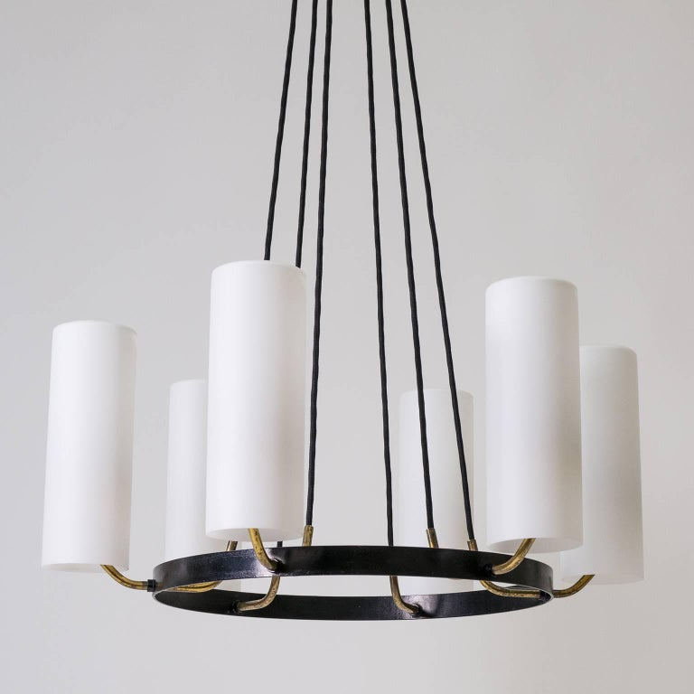Mid-20th Century Large Modernist Satin Glass and Brass Chandelier, 1950s For Sale
