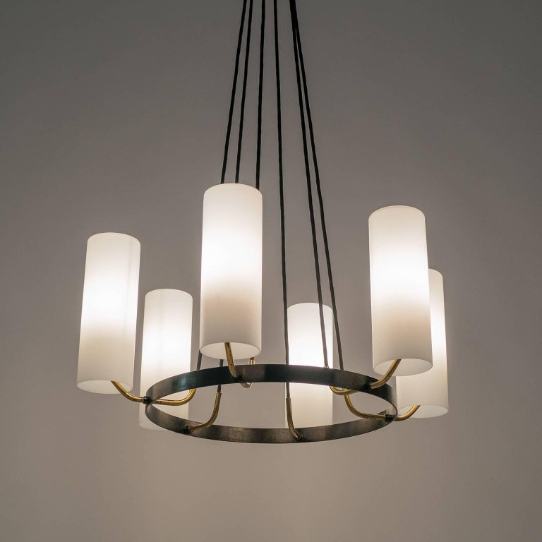Metal Large Modernist Satin Glass and Brass Chandelier, 1950s For Sale