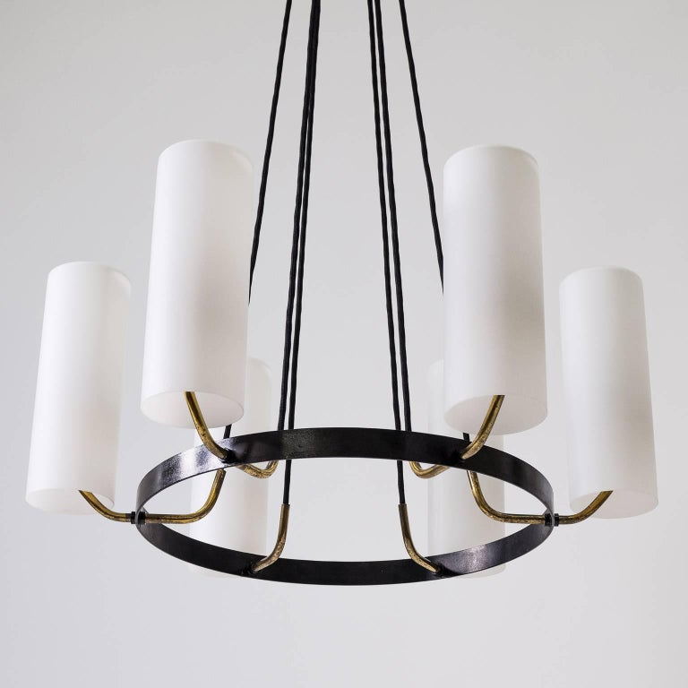 Large Modernist Satin Glass and Brass Chandelier, 1950s For Sale 1
