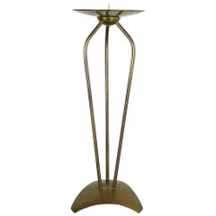 59cm Modernist Sculptural Brutalist Floor Brass Candleholder, Germany, 1950s