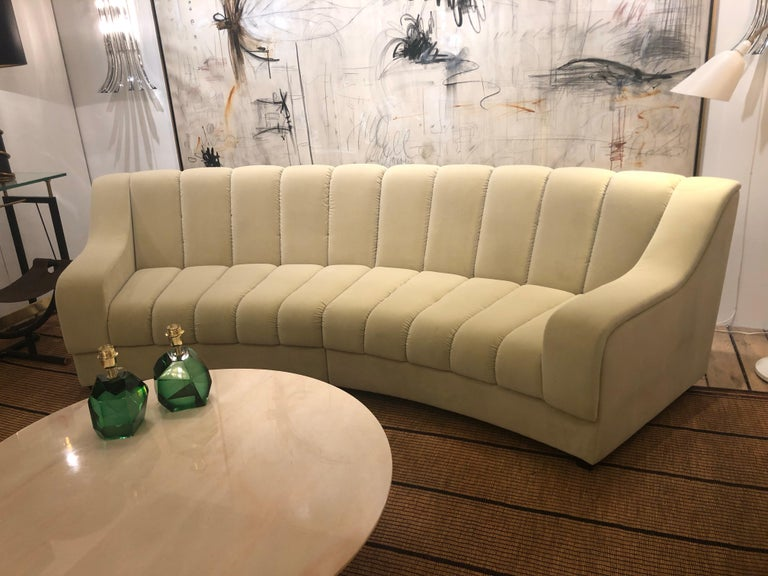 Segmented Curved Sofa in the Style of Desede in Imported Beige Velvet, Italy For Sale 12
