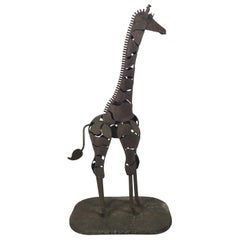 "Large Modernist Welded Steel ""Giraffe"" Garden Sculpture Artist Signed"