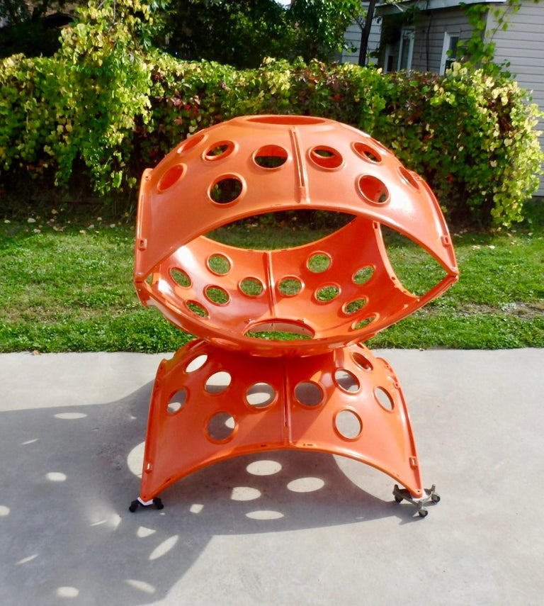 Mid-Century Modern Large Modular Cast Aluminum Orange Yard Art Indoor Outdoor Playground Sculpture For Sale