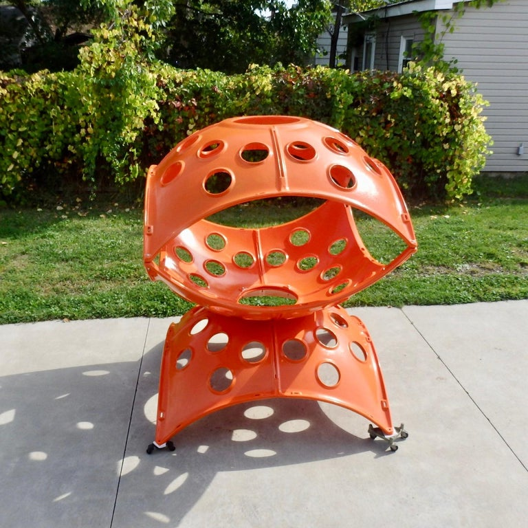 Powder-Coated Large Modular Cast Aluminum Orange Yard Art Indoor Outdoor Playground Sculpture For Sale