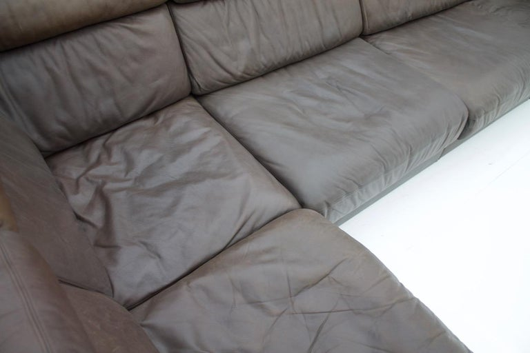 Large Modular Leather Sofa in Dark Brown Leather by De Sede, Switzerland, 1970s For Sale 4