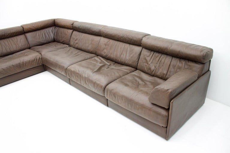 Large Modular Leather Sofa In Dark Brown Leather By De
