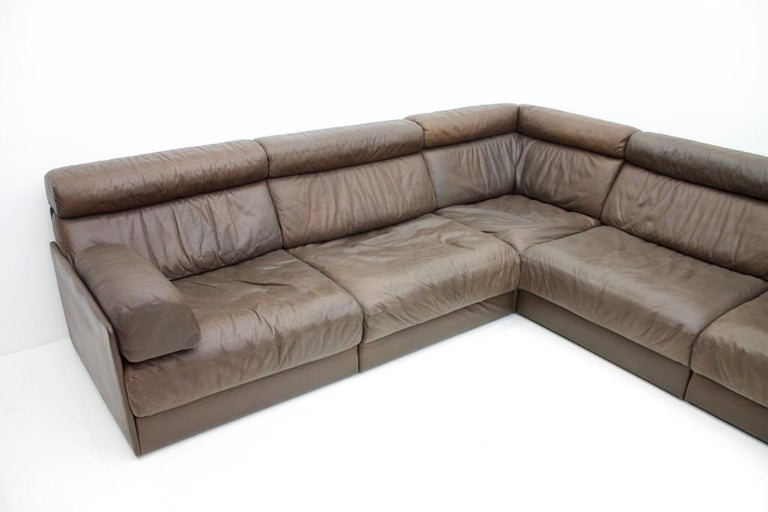 Swiss Large Modular Leather Sofa in Dark Brown Leather by De Sede, Switzerland, 1970s For Sale
