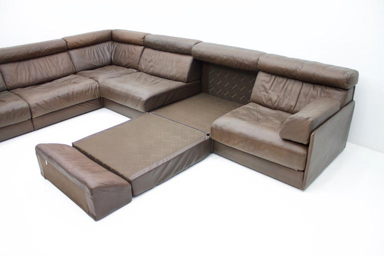 Late 20th Century Large Modular Leather Sofa in Dark Brown Leather by De Sede, Switzerland, 1970s For Sale