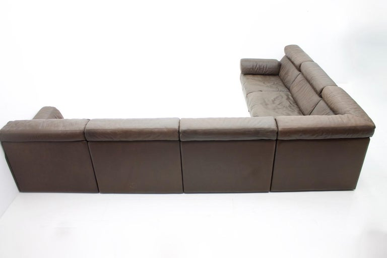 Large Modular Leather Sofa in Dark Brown Leather by De Sede, Switzerland, 1970s For Sale 2