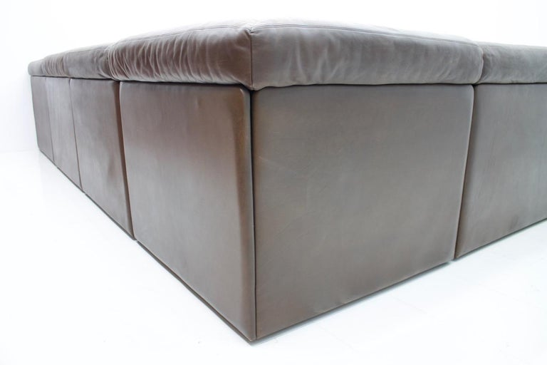 Large Modular Leather Sofa in Dark Brown Leather by De Sede, Switzerland, 1970s For Sale 3