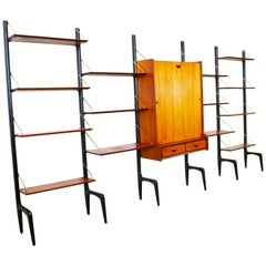Large Modular Wall Unit Louis van Teeffelen for Webe 1950s in Teak Brass Black