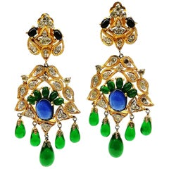 Large Moghul-style gilt metal and coloured paste drop earrings, Mazer, 1960s