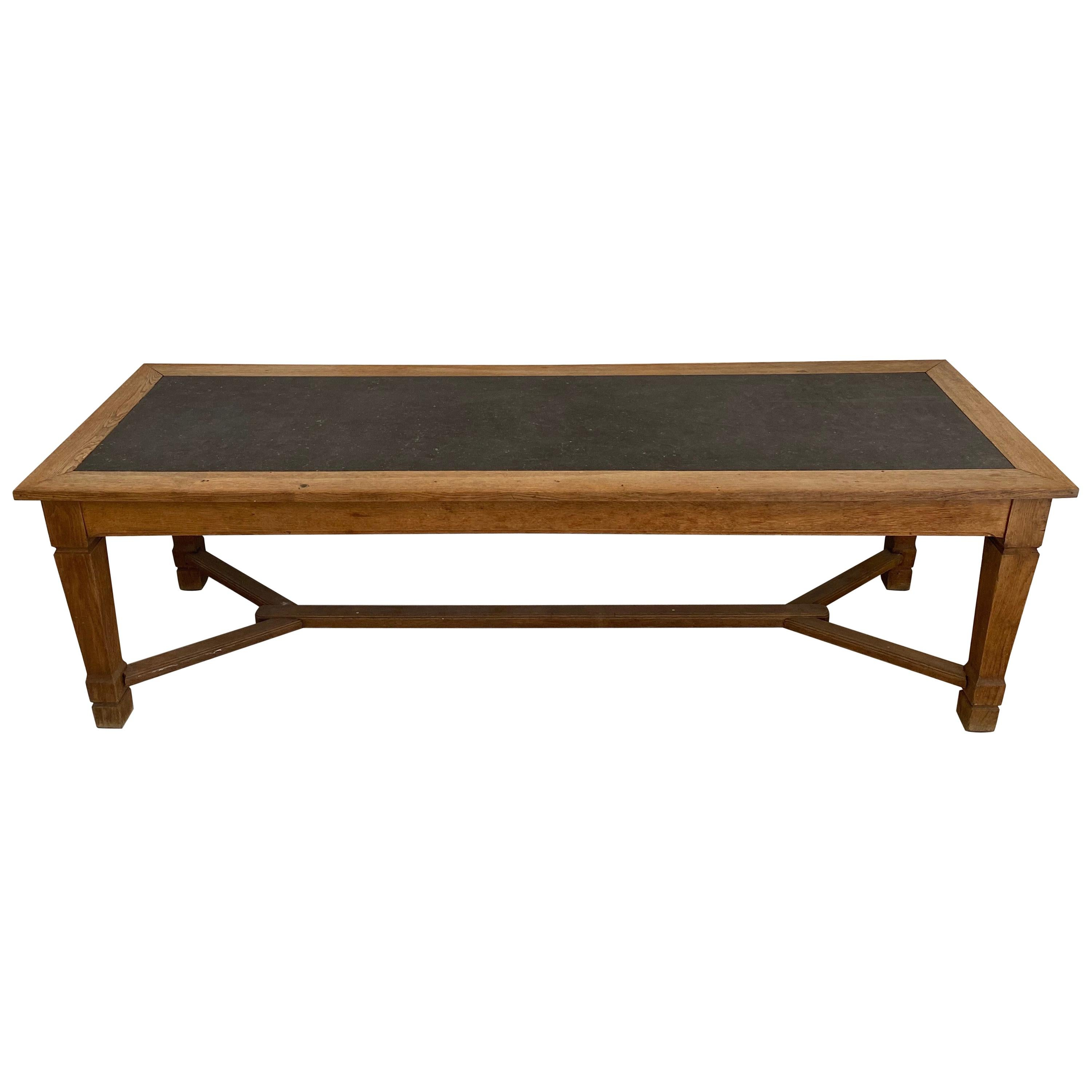 Large Monastery Dinning Table Made of Oak with a Blue Stone Top, French