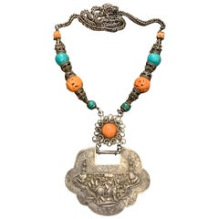 Large Mongolian Silver, Coral, Turquoise Lock Charm Necklace, Early 20th Century
