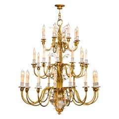 Large Monumental 3-Tier 36-Light Italian Neoclassic Chandelier with Gold Leaf