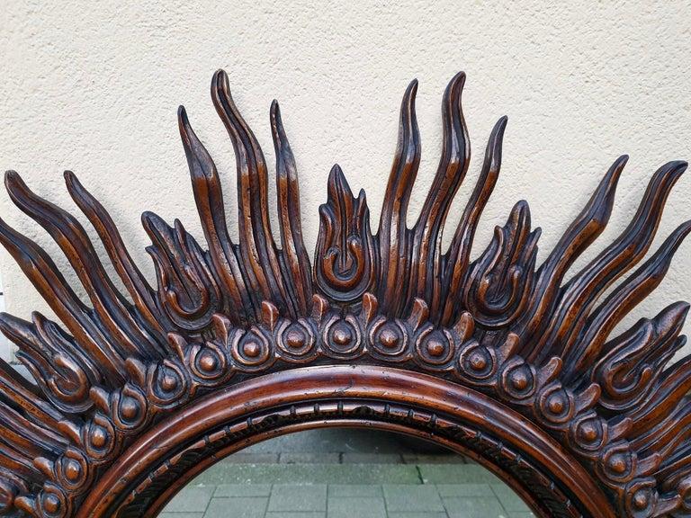 Large Monumental Spanish Wooden Sunburst Mirror by Francisco Hurtado For Sale 6