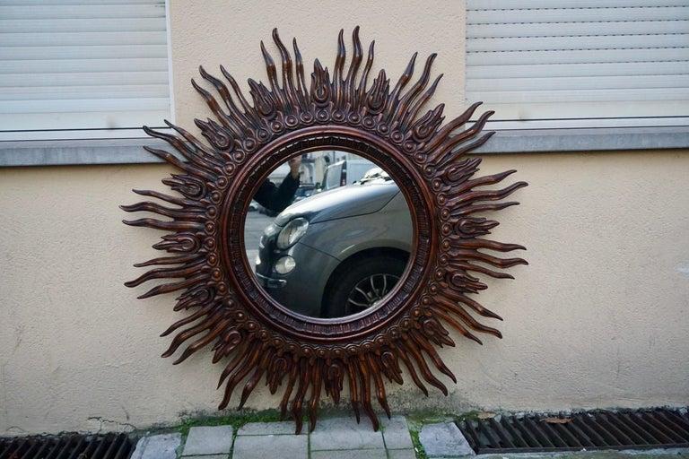 Large Monumental Spanish Wooden Sunburst Mirror by Francisco Hurtado For Sale 7