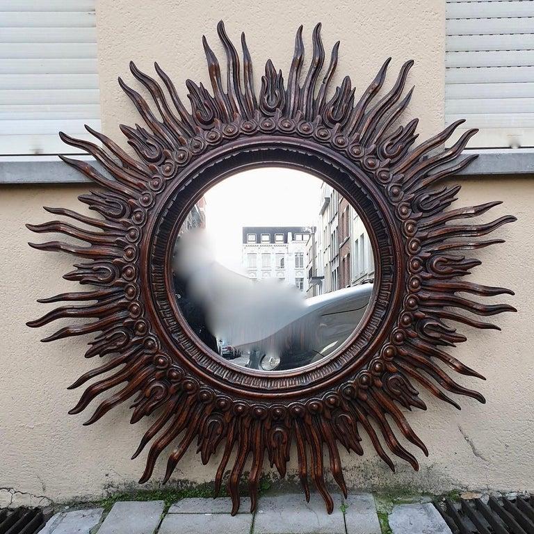 Large Monumental Spanish Wooden Sunburst Mirror by Francisco Hurtado For Sale 10