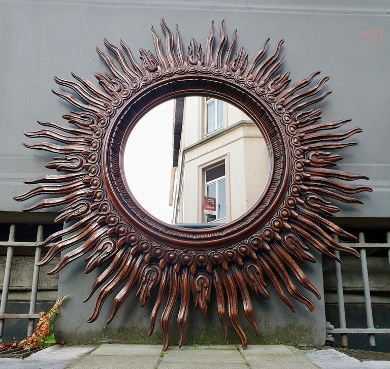 Large Monumental Spanish Wooden Sunburst Mirror by Francisco Hurtado For Sale 11