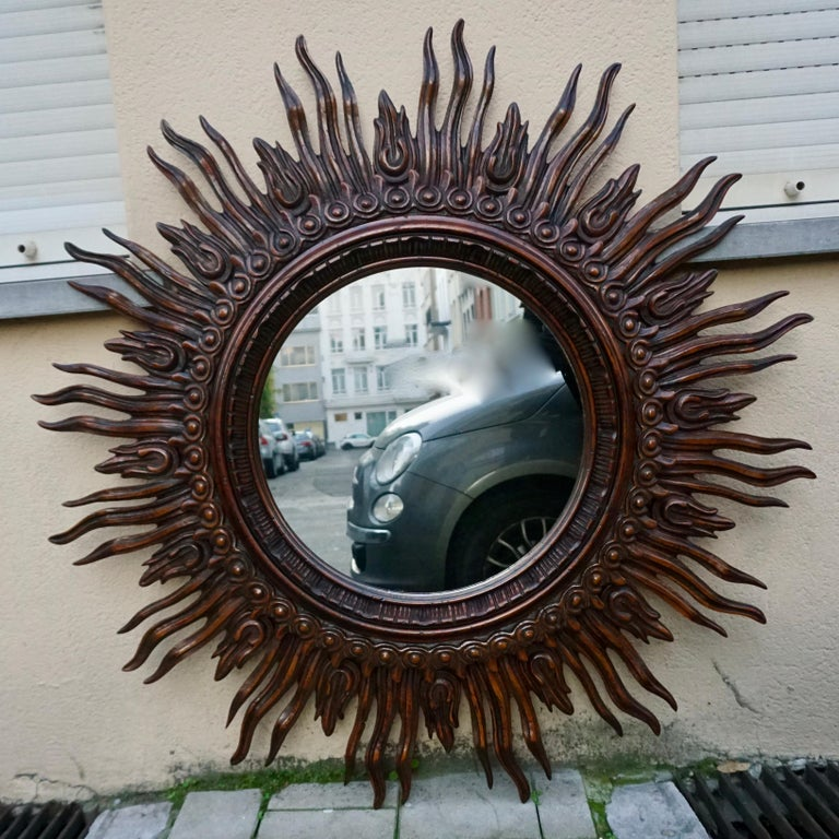 Hollywood Regency Large Monumental Spanish Wooden Sunburst Mirror by Francisco Hurtado For Sale