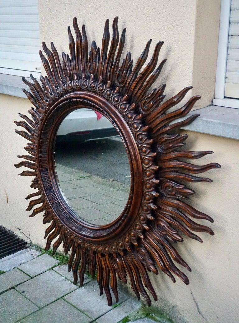 20th Century Large Monumental Spanish Wooden Sunburst Mirror by Francisco Hurtado For Sale