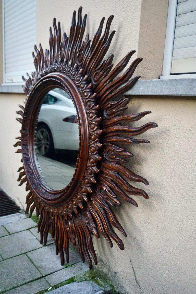 Large Monumental Spanish Wooden Sunburst Mirror by Francisco Hurtado For Sale 3