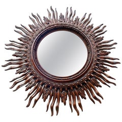 Large Monumental Spanish Wooden Sunburst Mirror by Francisco Hurtado