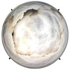Large 'Moon' Alabaster Wall or Ceiling Lamp in the Manner of Pierre Chareau