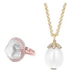 Goshwara Moon Quartz  With Diamonds Pendant And Ring