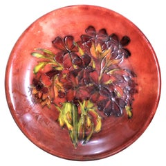 Large Moorcroft Flambe 'Spring Flowers' Art Pottery Plate or Charger