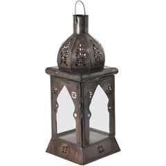 Large Moorish Square Tole and Clear Glass Candle Lantern