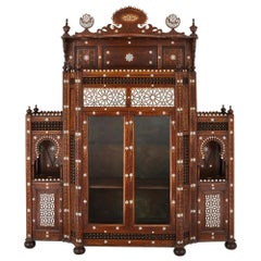 Large Moorish Style Mother of Pearl Inlaid Display Cabinet
