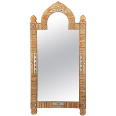 Large Moroccan Arched Moorish Mirror Inlaid with Camel Bone