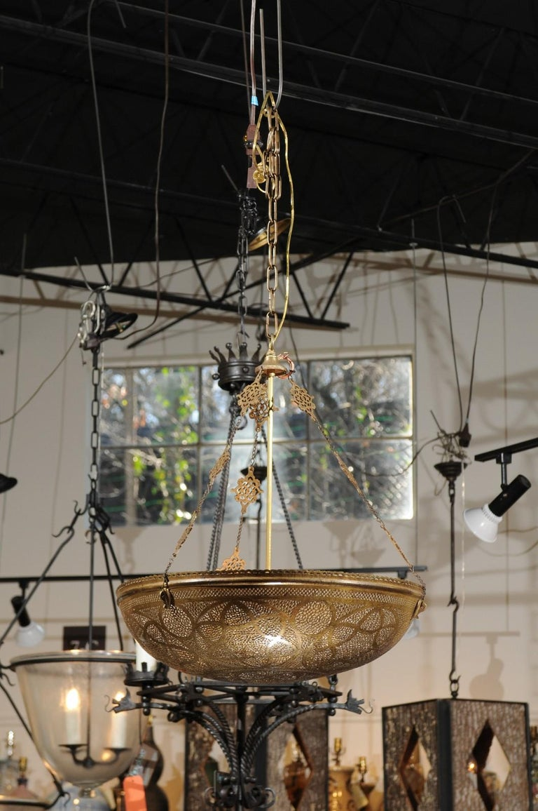 Large Moroccan Brass Dome Pendant Light Fixture with ...