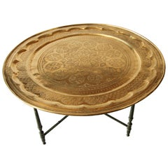 Large Moroccan Brass Tray Table on Folding Stand