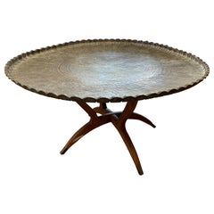 Large Moroccan Brass Tray Table with Folding Spider Leg Stand